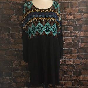 Ivy Jane Embroidered Crinkle Dress Large